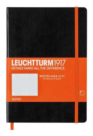 Agendă LEUCHTTURM1917 Whitelines Link® Technologie: Medium, pagini punctate, negru, cu bandă elastică orange și page marker