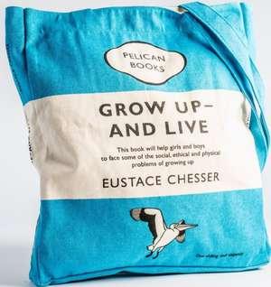 Sacosa de carti: Grow Up and Live (Blue)