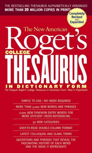 New American Roget's College Thesaurus in Dictionary Form (Revised & Updated) de Philip D. Morehead