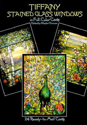 Tiffany Stained Glass Windows:  24 Cards de Alastair Duncan