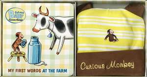 Curious Baby My First Words at the Farm Gift Set (Curious George Book & Hat)