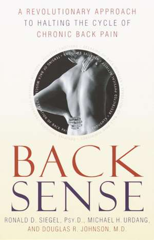 Back Sense:  A Revolutionary Approach to Halting the Cycle of Chronic Back Pain de Ronald D. Siegel