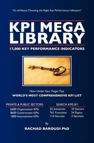 Kpi Mega Library:  17,000 Key Performance Indicators de Rachad Baroudi Phd