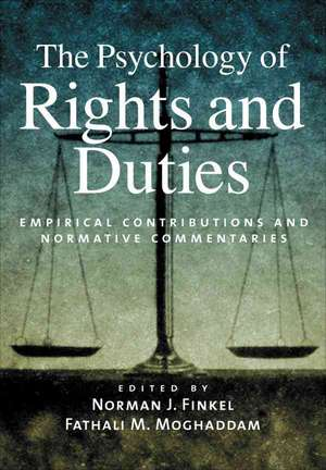 The Psychology of Rights and Duties:  Empirical Contributions and Normative Commentaries de Norman J. Finkel