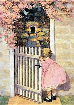 Girl Looking in Garden - Birthday Greeting Card de Jessie Willcox Smith