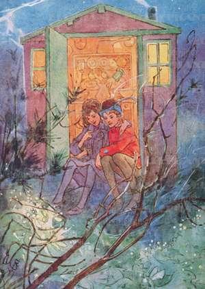 Boy & Girl in Doorway - Romance Greeting Card de Alice B. Woodward