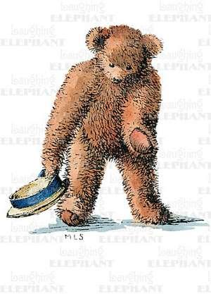 Teddy Bear Bowing - Thank You Greeting Card de Margaret Landers Sanford