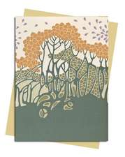 Autumn Leaves (Art Nouveau) Greeting Card: Pack of 6