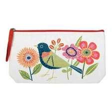 Avian Friends Embroidered Handmade Pouch