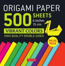 """Origami Paper 500 sheets Vibrant Colors 6"""" (15 cm): Tuttle Origami Paper: High-Quality Origami Sheets Printed with 12 Different Colors: Instructions for 8 Projects Included"""