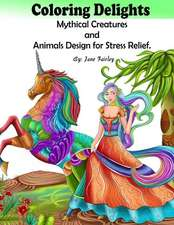 Adult Coloring Delights Mythical Creatures and Animals Design for Stress Relief