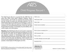 Assessment, Evaluation, and Programming System for Infants and Children (AEPS(R)), Second Edition, Child Progress Record I:  Birth to Three Years