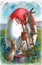 Rabbit on Ladder - Easter Greeting Card