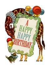 Circus Giraffe Birthday Greeting Cards [With Envelope]