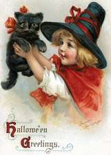 Girl with Black Cat Halloween Greeting Card [With Envelope]