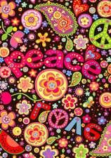 The Flower Power Hippie Theme Dot Grid Notebook