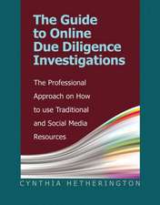The Guide to Online Due Diligence Investigations:  The Professional Approach on How to Use Traditional and Social Media Resources
