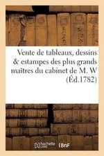 Vente de Tableaux, Dessins Estampes Des Plus Grands Maitres Du Cabinet de M. W.