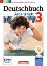 Deutschbuch Gymnasium 3: 7. Schuljahr. Arbeitsheft mit Lösungen und Übungs-CD-ROM. Baden-Württemberg