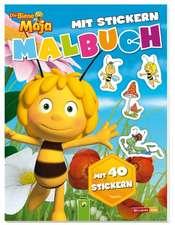 Albinuţa Maja. Carte de colorat  cu abțibilduri: Die Biene Maja- Malbuch mit 40 Stickern