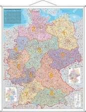 Postleitzahlen-Karte Deutschland 1 : 1 000 000. Wandkarte Kleinformat mit Metallstäben